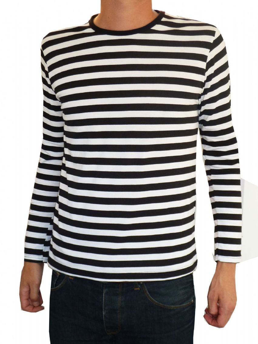 Mens Longsleeve Stripey Top (black & white)